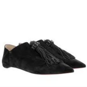 $995~LOUBOUTIN~Spiked Tassel Slides/Flats~11/11.5